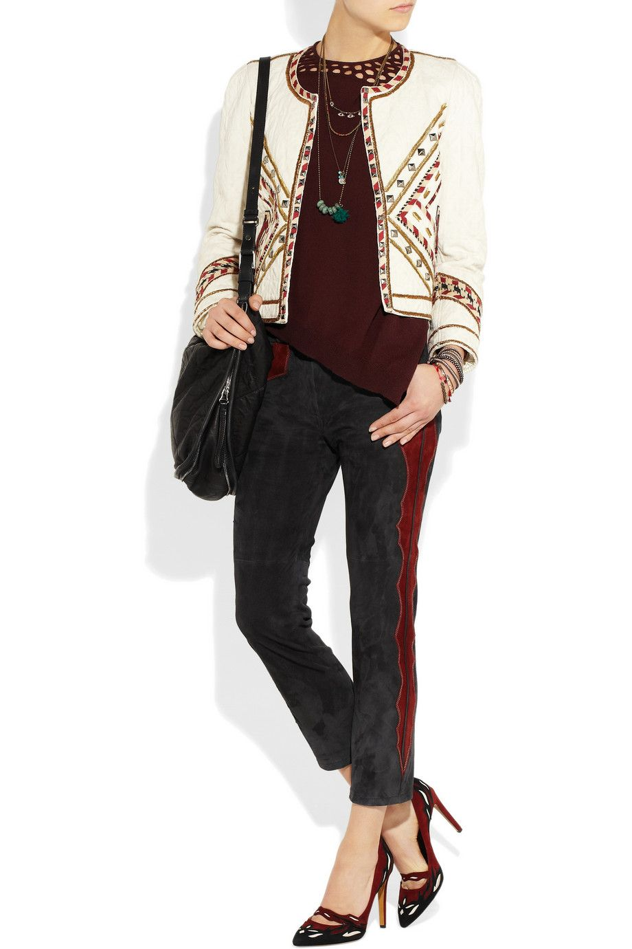 Isabel MarantEminoy cropped stretch-suede skinny pantsoutfit