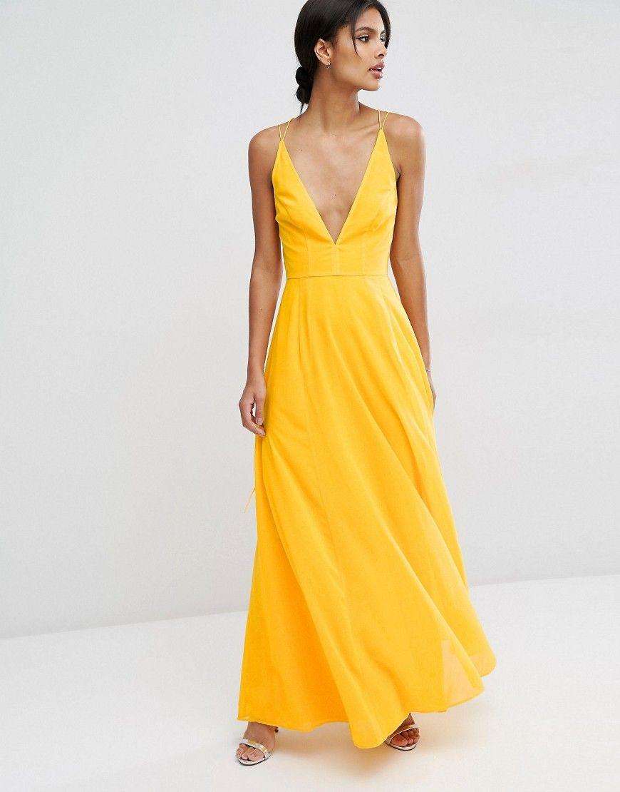 Asos Deep Plunge Cami Maxi Dress At Asos Com Maxi Dress Cami Maxi Dress Tall Maxi Dress [ 1110 x 870 Pixel ]