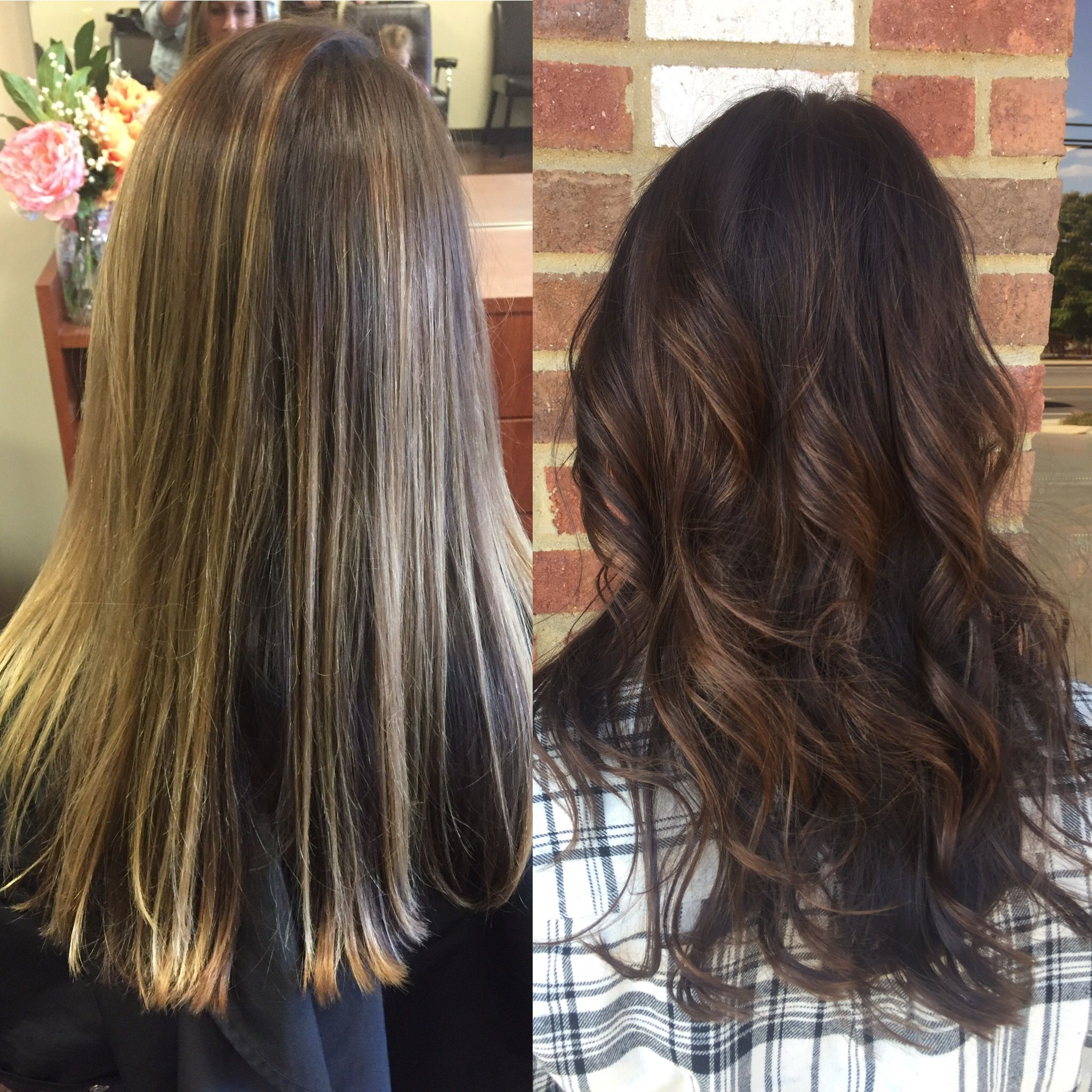 Hair Transformation Grown Out Blonde To Rich Brown With Golden