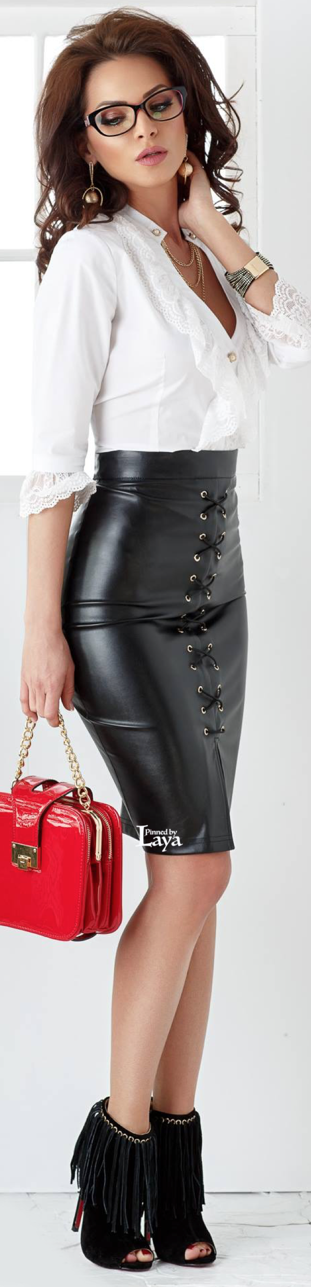 White blouse & black leather skirt | Denim / leather / fur ...