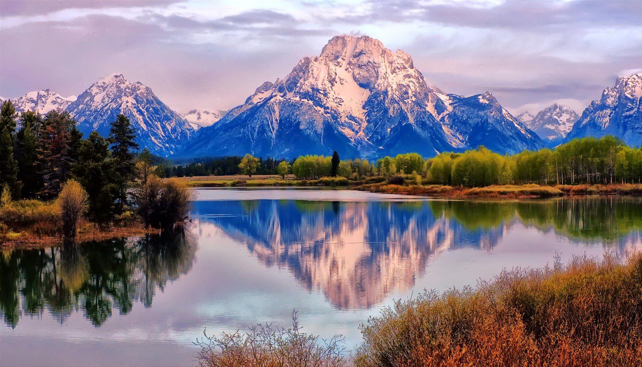 Landscape Nature Lake Mountains Fall Reflection Grand Teton Mount
