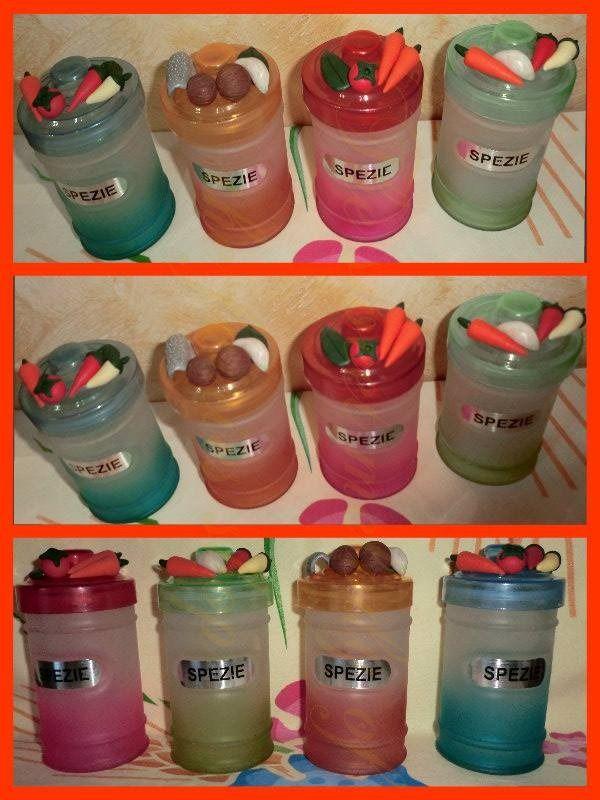 set barattoli porta spezie in vetro colorato e decorazioni in fimo ...