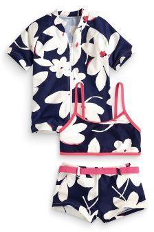 ecce4c9dc1d9e Three Piece Set Navy Flower Print Sunsafe (3-16yrs) | NEXT | Girls ...