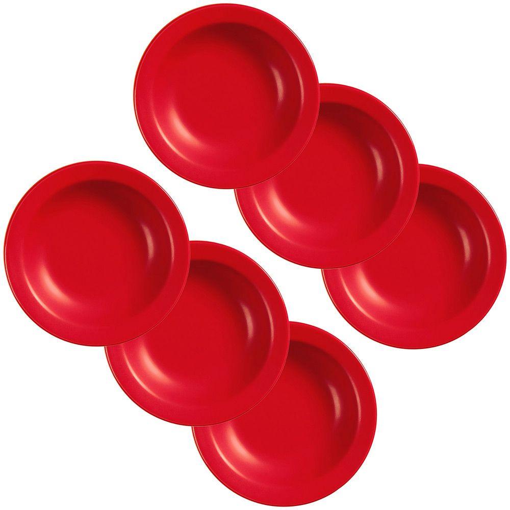 Conjunto com 6 Pratos Fundos 23cm - Mail Order Red - Oxford Daily