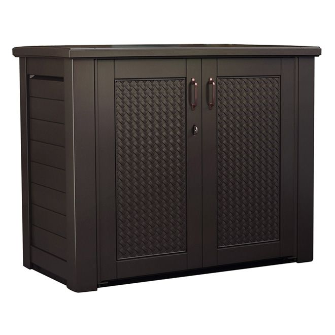 219 Patio Chic Storage Cabinet By Rubbermaid Rona Patio Storage Patio Cabinet Rubbermaid Outdoor Storage