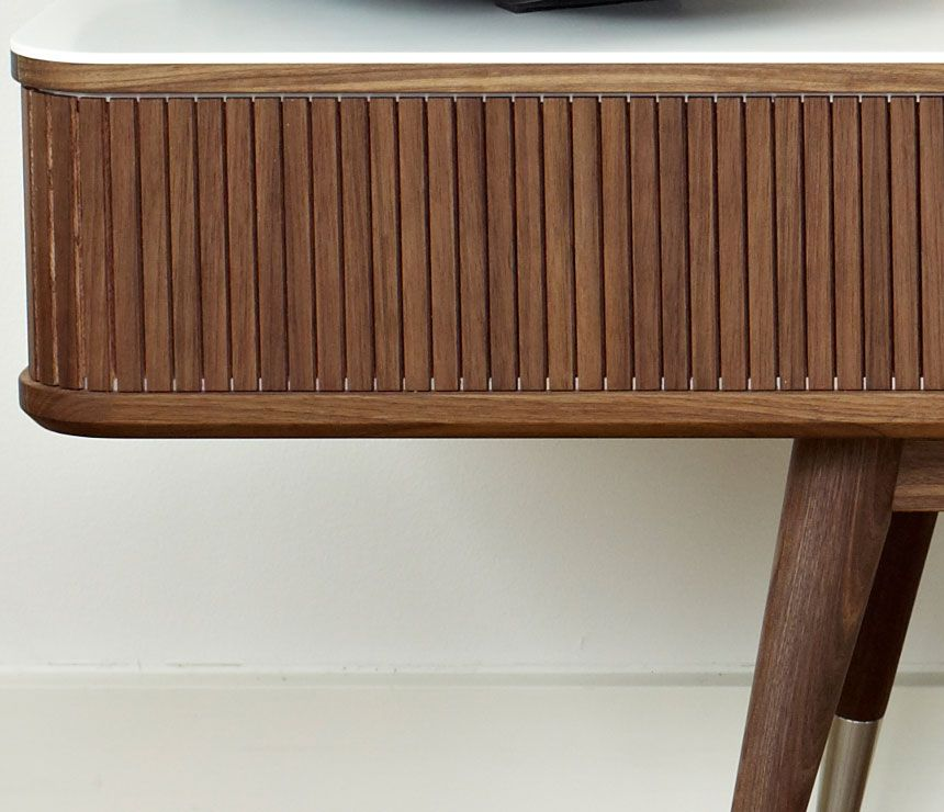 Close Up Of The Tambour Doors On The Danish Retro Media Cabinet