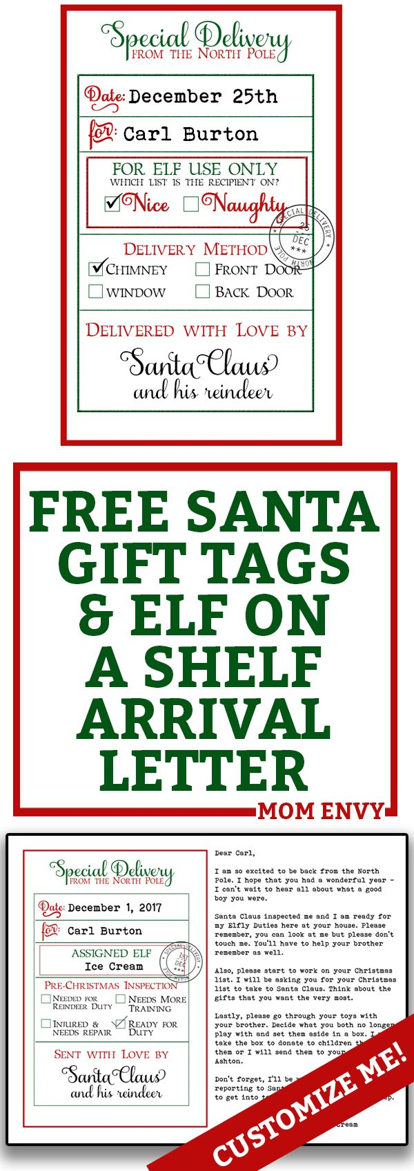 free custom santa gift tags and elf on a shelf arrival letter free printable christmas gift tags from santa and free elf on a shelf printable