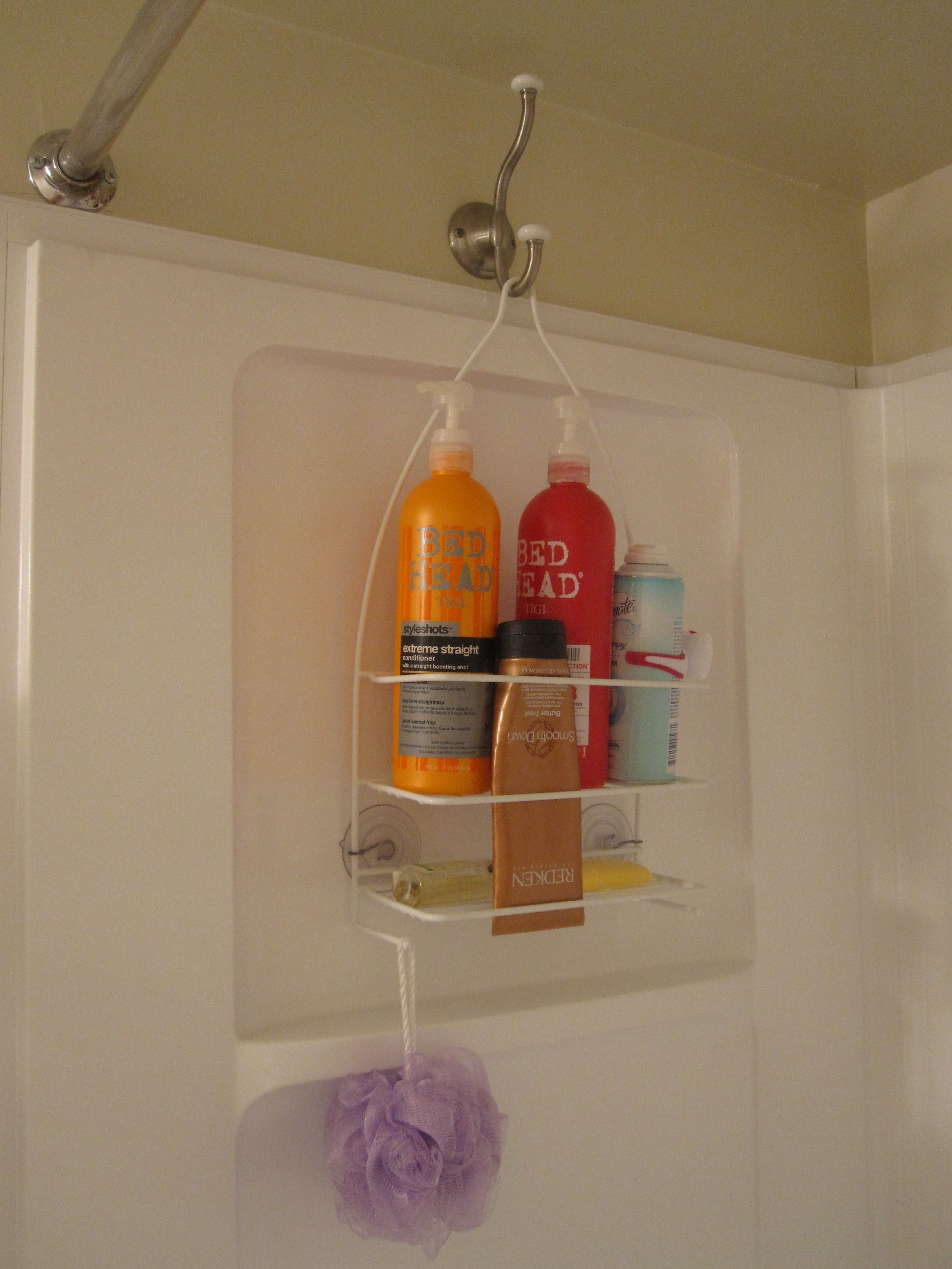 977cc7fbeb456 I prefer hanging my shower caddy on the opposite side of the shower ...
