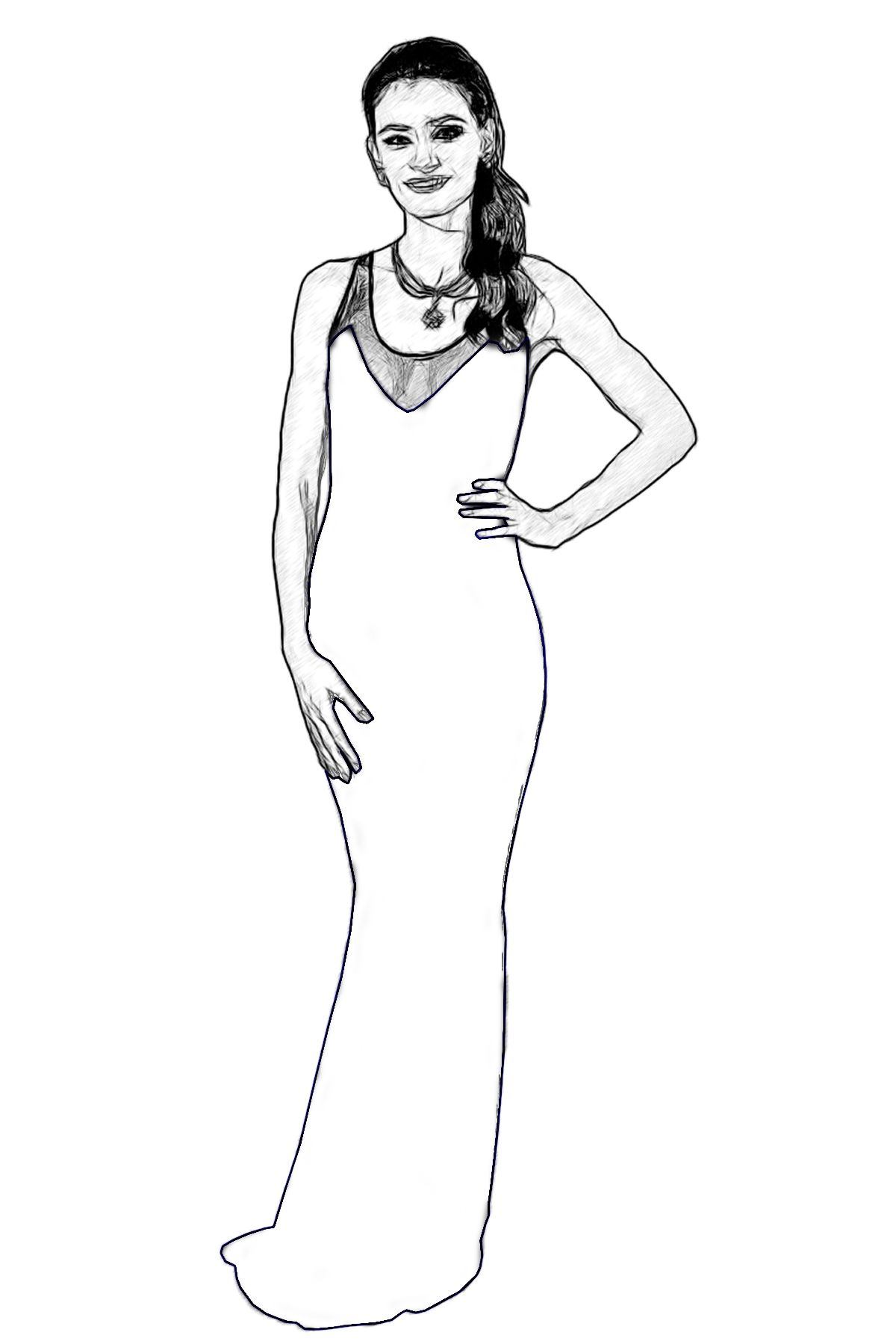 Penelope Cruz Celebrity Coloring Page by Dan Newburn. | Colouring Pages