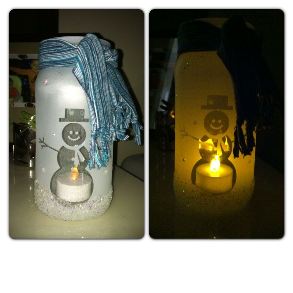 snowman mason jar luminary santa 39 s workshop pinterest