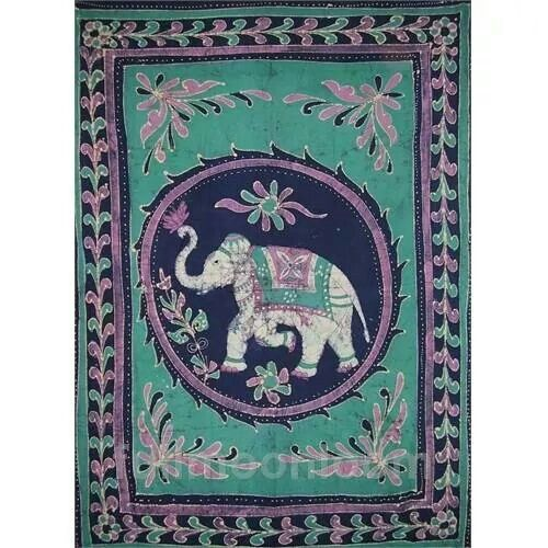 Love this http://www.fullmoonloom.com/p-2988-lucky-batik-elephant-cotton-tapestry-or-spread-108-x-88-turquoise.aspx