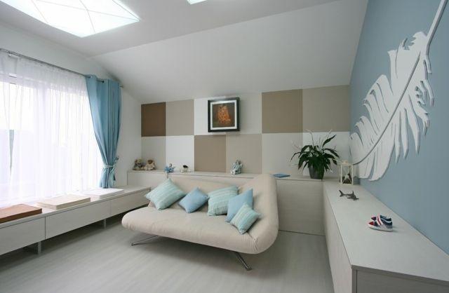 Wohnzimmer Beige Braun Weiße Quadrate Wand