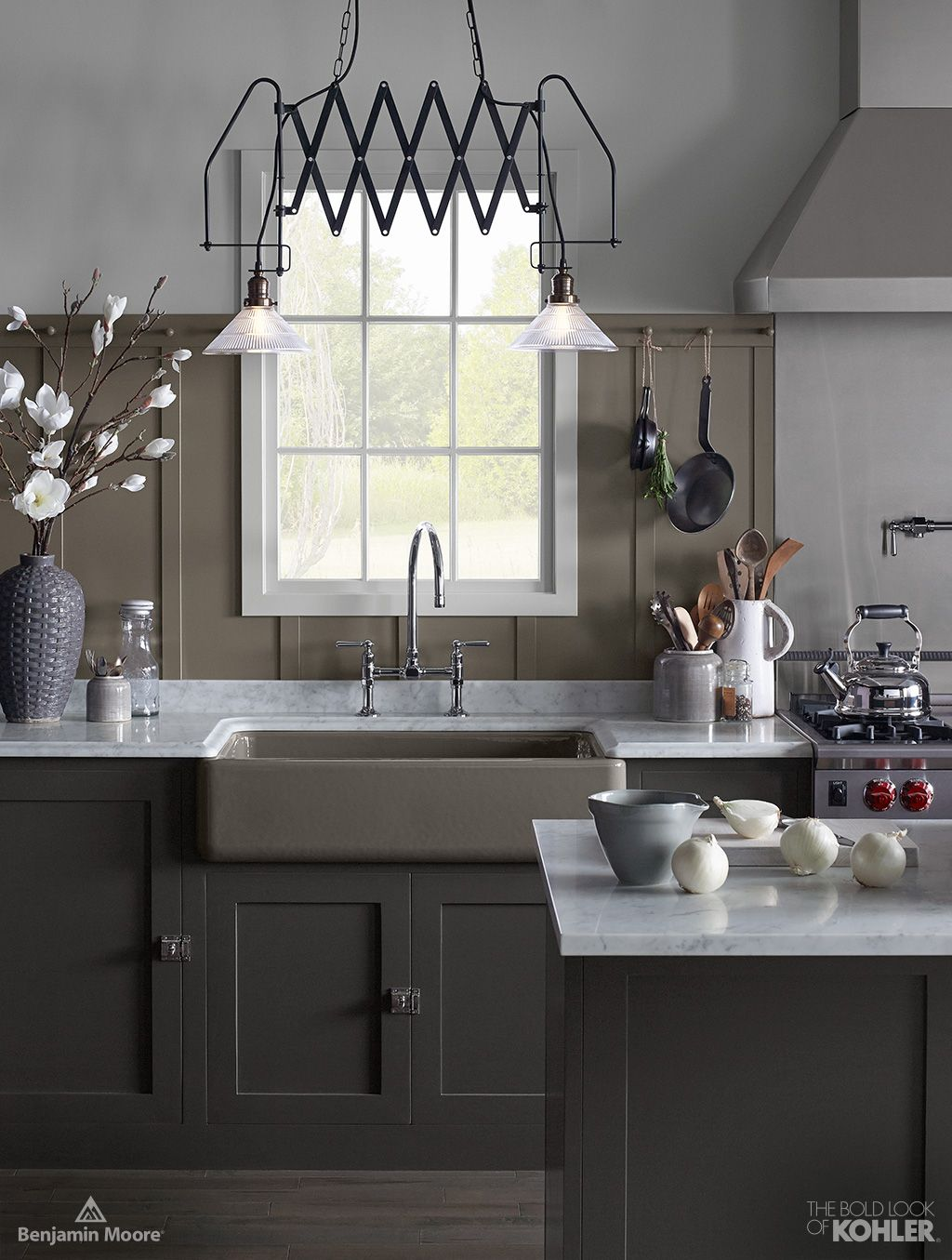 The Bold Look of Kitchen sink lighting, Cast iron