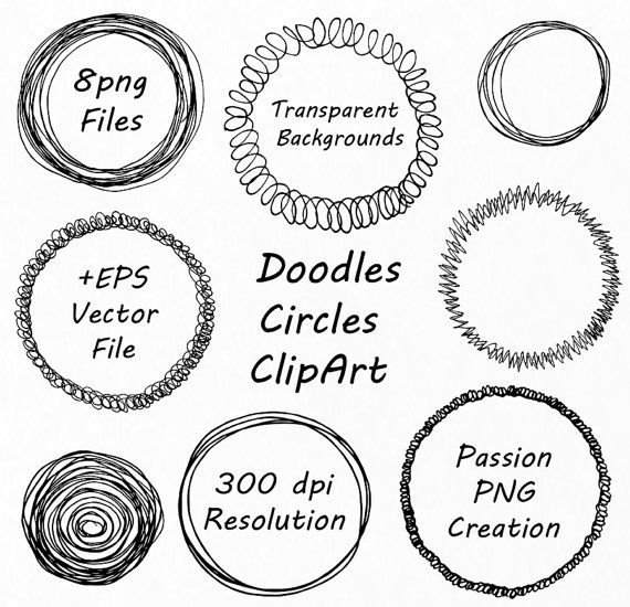 Quirky Doodle Frame Clipart Oval  Round Label Printable Logo