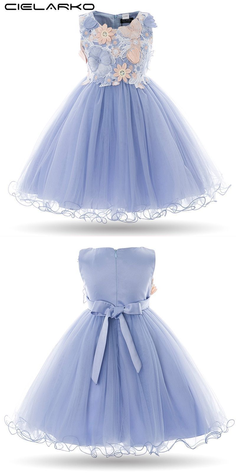 14914a3c50 Kids girls flower dress baby girl butterfly birthday party dresses children  fancy princess ball gown wedding