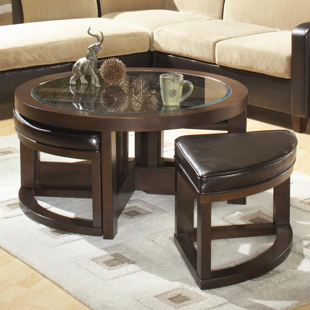 3219 Round Cocktail Table With 4 Ottomans By Homelegance Coffee Table With Stools Underneath Coffee Table With Stools Coffee Table [ jpg ]