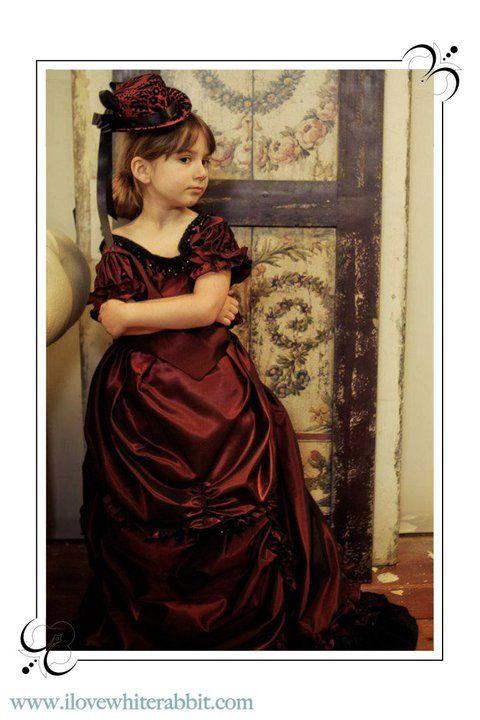 Burgundy Taffeta Girls Victorian Bustle Dress and Hat by Bbeauty79, $495.00- junior bridesmaid, flower girl?