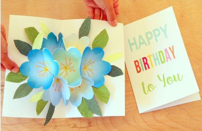 Printable Pop Up Bouquet Birthday Card Birthday Card Printable Free Printable Birthday Cards Easy Birthday Cards Diy
