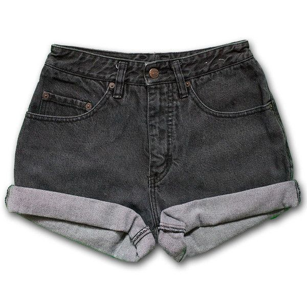 Vintage 80s Pepe Dark Black Gray Wash High Waisted Rise Cut Offs... (410 ARS) ❤ liked on Polyvore featuring shorts, bottoms, pants, short, high waisted cut off shorts, high-waisted jean shorts, jean shorts, high-waisted cutoff shorts and vintage high waisted shorts