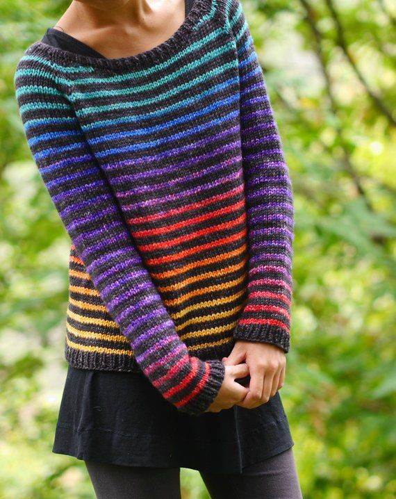 Photo of Knitting Pattern PDF: Rainbow Trail pullover womens sweaters