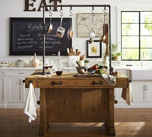 kitchen island table, blackboard