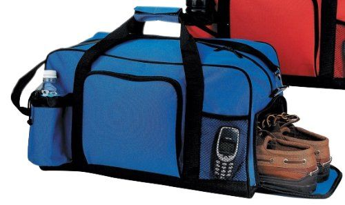 Shoe Compartment Duffel Bag W Bottle Holder Phone Pocket
