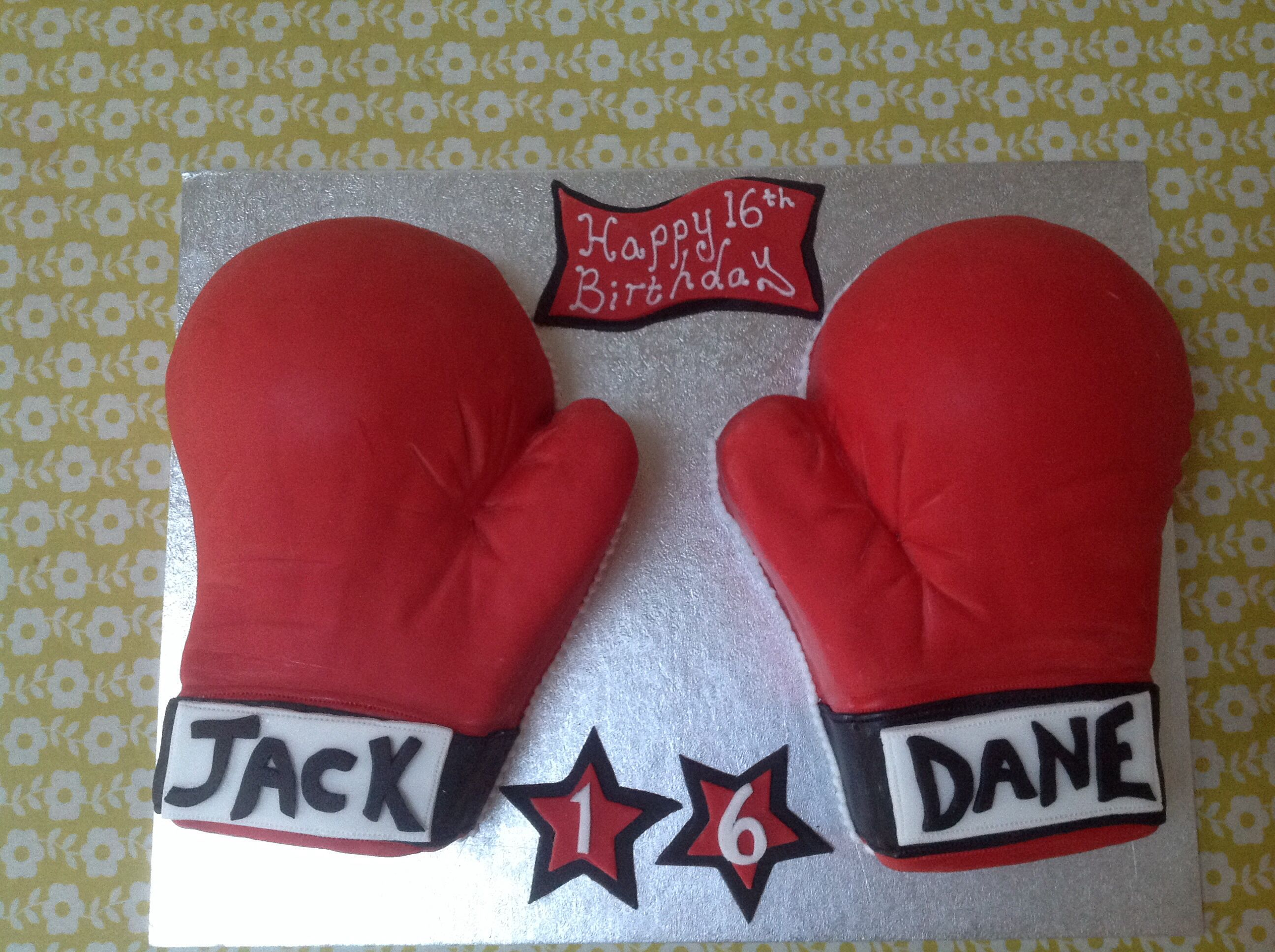 Boxing gloves birthday cake