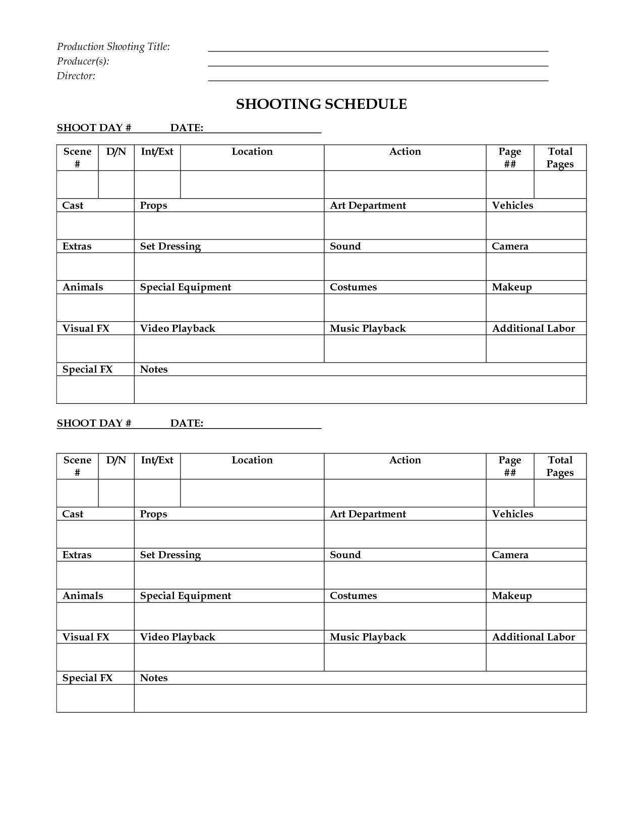 Shooting Schedule Template   Hour Filmfest