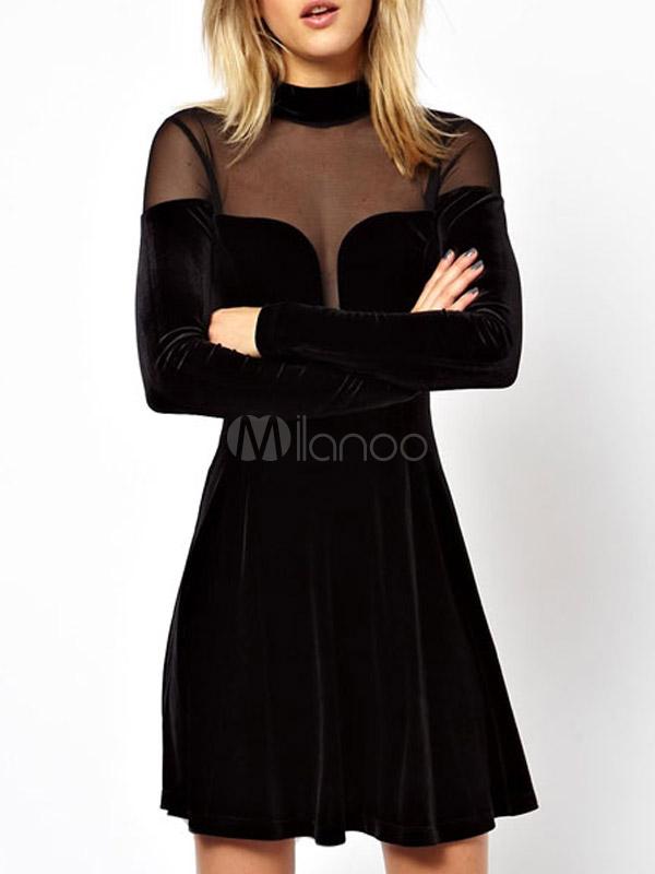 Beautiful Black High Collar Cut Out Woman's Short Dress