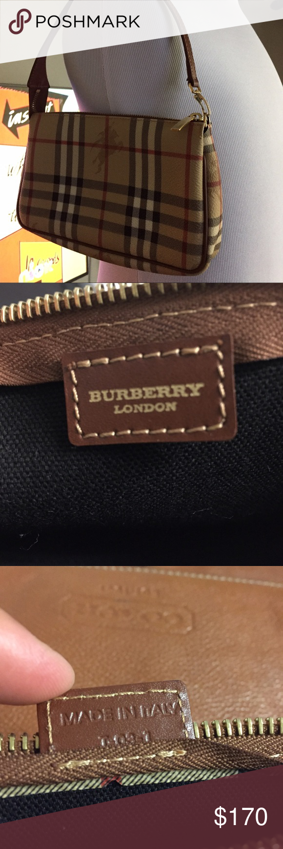 "Auth Burberry Hay Market Check Leather bag Italy Pre loved. Authentic Burberry Made in Italy. Measurement Bag depth 1.5"" Bag Length 8.2"" Strap Drop 5.5"" Bag Height 5.1"" All offers accepted for my listing. Please share. Thank you. Burberry Bags Mini Bags"