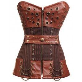 in love again striped steampunk corset w/ waist belt
