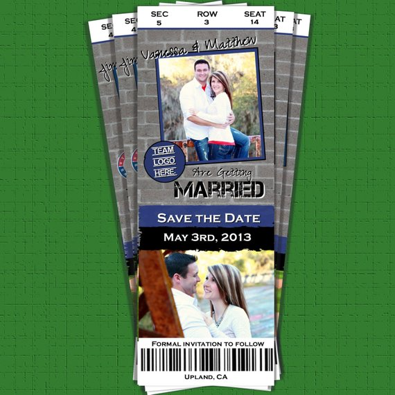 save the date wedding baseball football basketball sports ticket