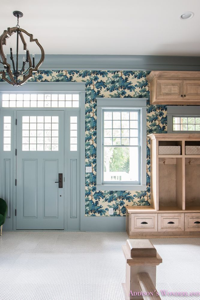 Our Dreamy Blue Wallpapered Mud Room | Drooling Over ...