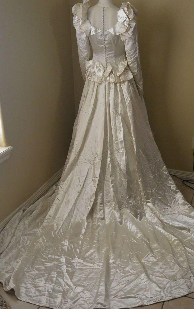 Vintage Satin Bur Mil Quality ivory wedding Dress 1940\'s 60\'s Rayon ...