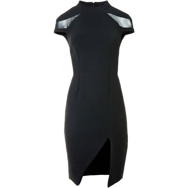 Sinclair London - Mesh Cut Out Neck Shift Dress ($575) ❤ liked on Polyvore featuring dresses, cocktail dresses, lined dress, cut out shift dress, holiday dresses and cut out dresses