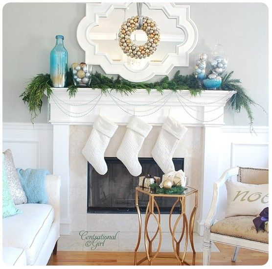 47 Fireplace Designs Ideas: Blue, White And Gold Mantle, Christmas