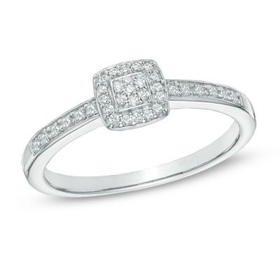 Zales 1/10 CT. T.w. Diamond Heart-Shaped Cluster Ring in 10K White Gold