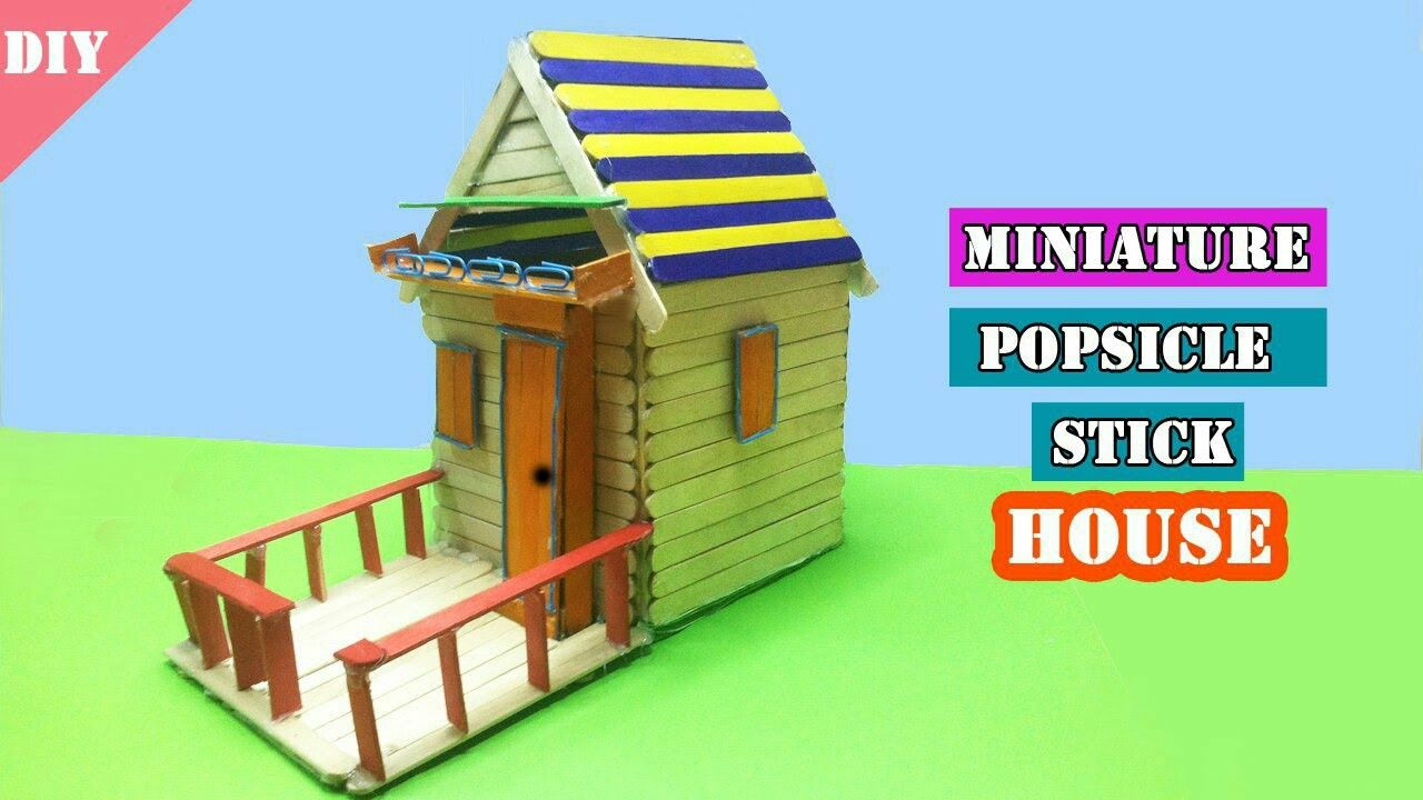 Diy Miniature Popsicle Sticks House Easy Craft Idea For Kids