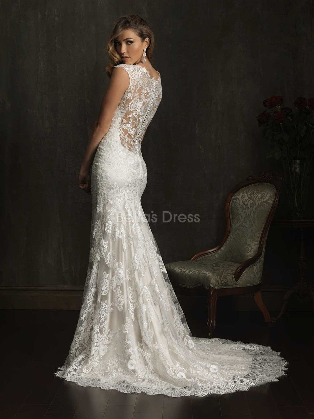 Illusion back v neck sheath column court train lace for Pinterest wedding dress lace