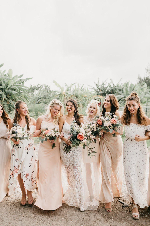 Au Naturale Farm And Vineyard Wedding With Handmade Details Ruffled Pastel Bridesmaid Dresses Summer Wedding Attire Floral Bridesmaid Dresses