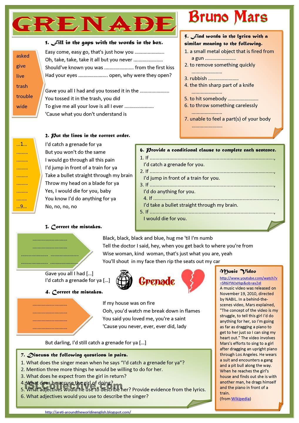 I prepared this worksheet on the song grenade by bruno mars at the request of my students it contains a variety of listening tasks fill in the blanks