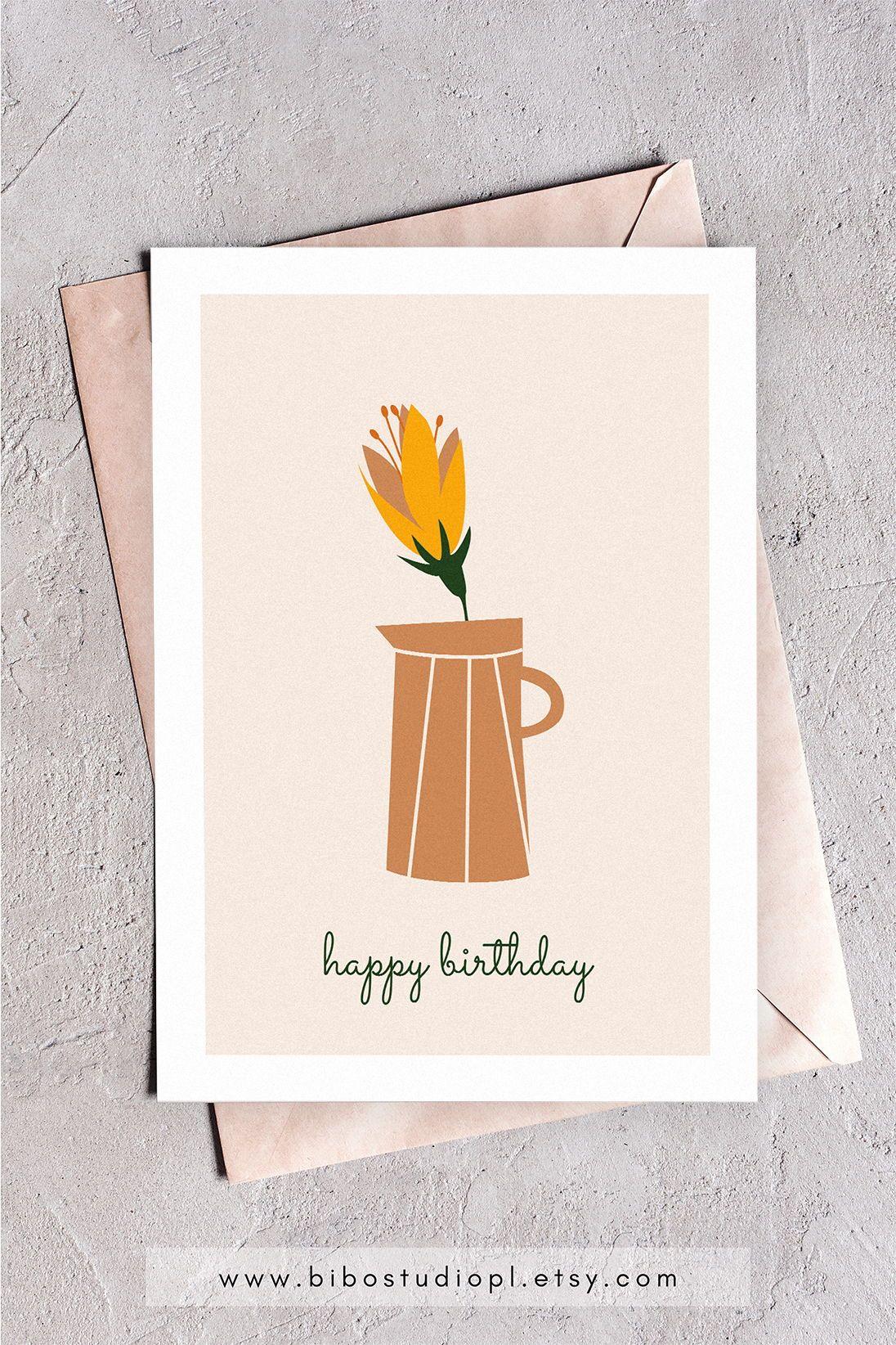 Printable Happy Birthday Card Happy Birthday Floral Minimal Card Happy Birthday Cards Printable Birthday Cards Printable Cards