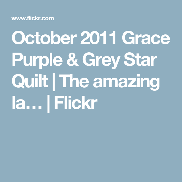 October 2011 Grace Purple & Grey Star Quilt | The amazing la… | Flickr