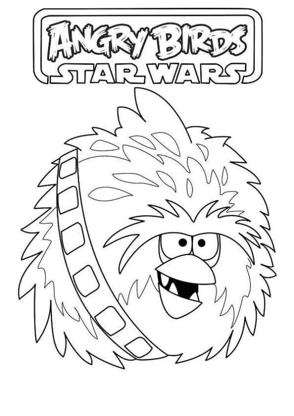 Coloring Page Angry Birds Star Wars Chewbacca Angry Birds Star