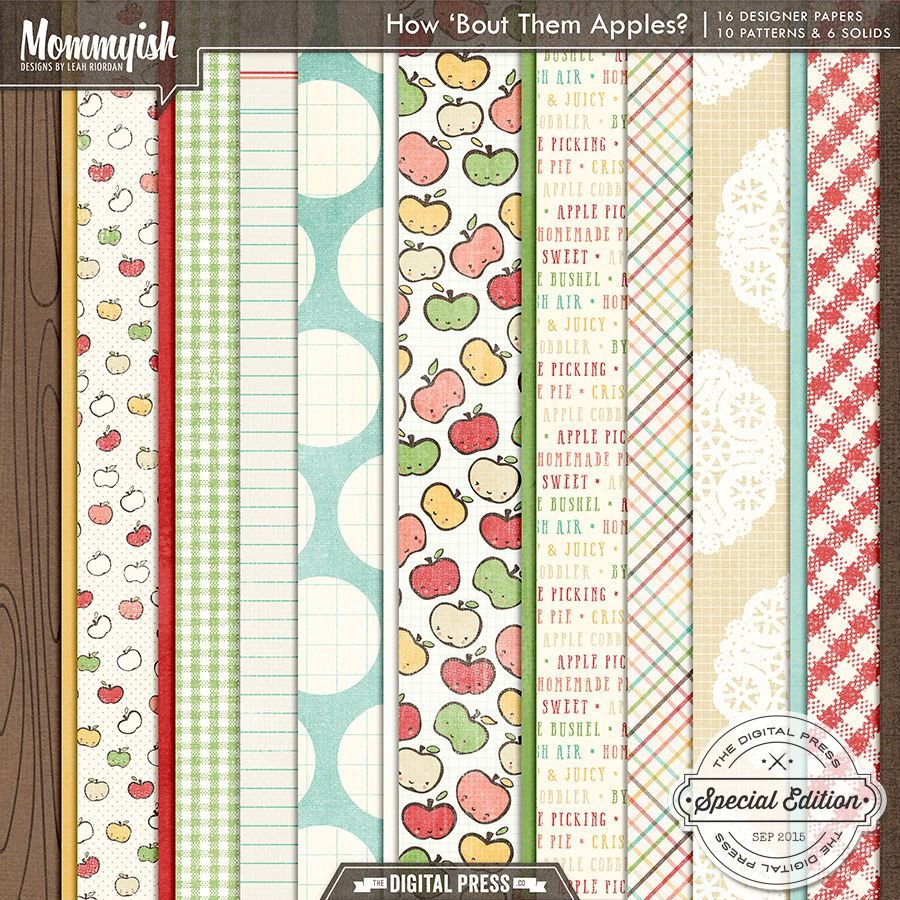 How 'Bout Them Apples | Papers #mommyish #digiscrap #apples #orchard #applepie #paper