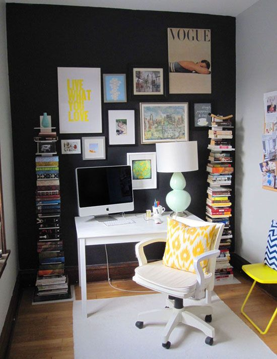 Cool desk area..I need those awesome book shelves