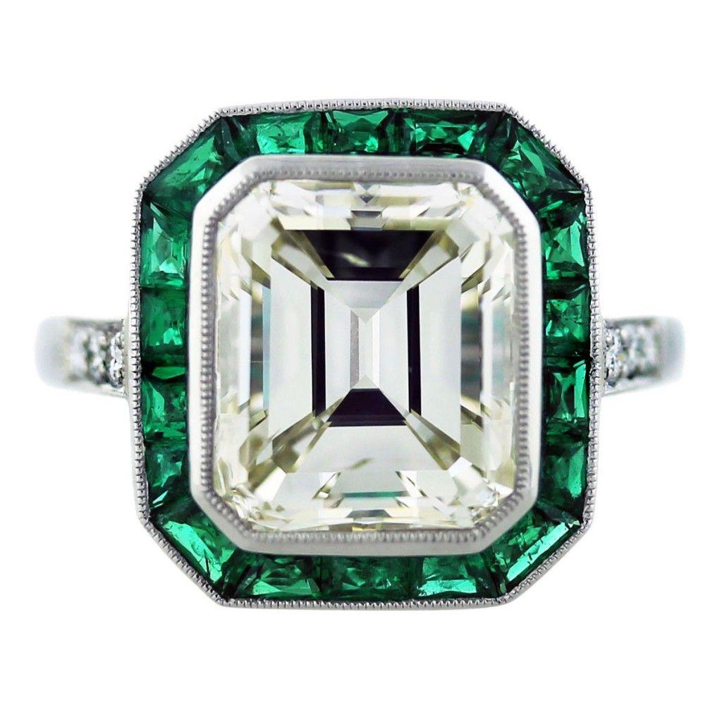 emerald cut wedding rings 5 Ct Emerald Cut Diamond Emerald Platinum Engagement Ring Halo Platinum engagement rings and Engagement rings