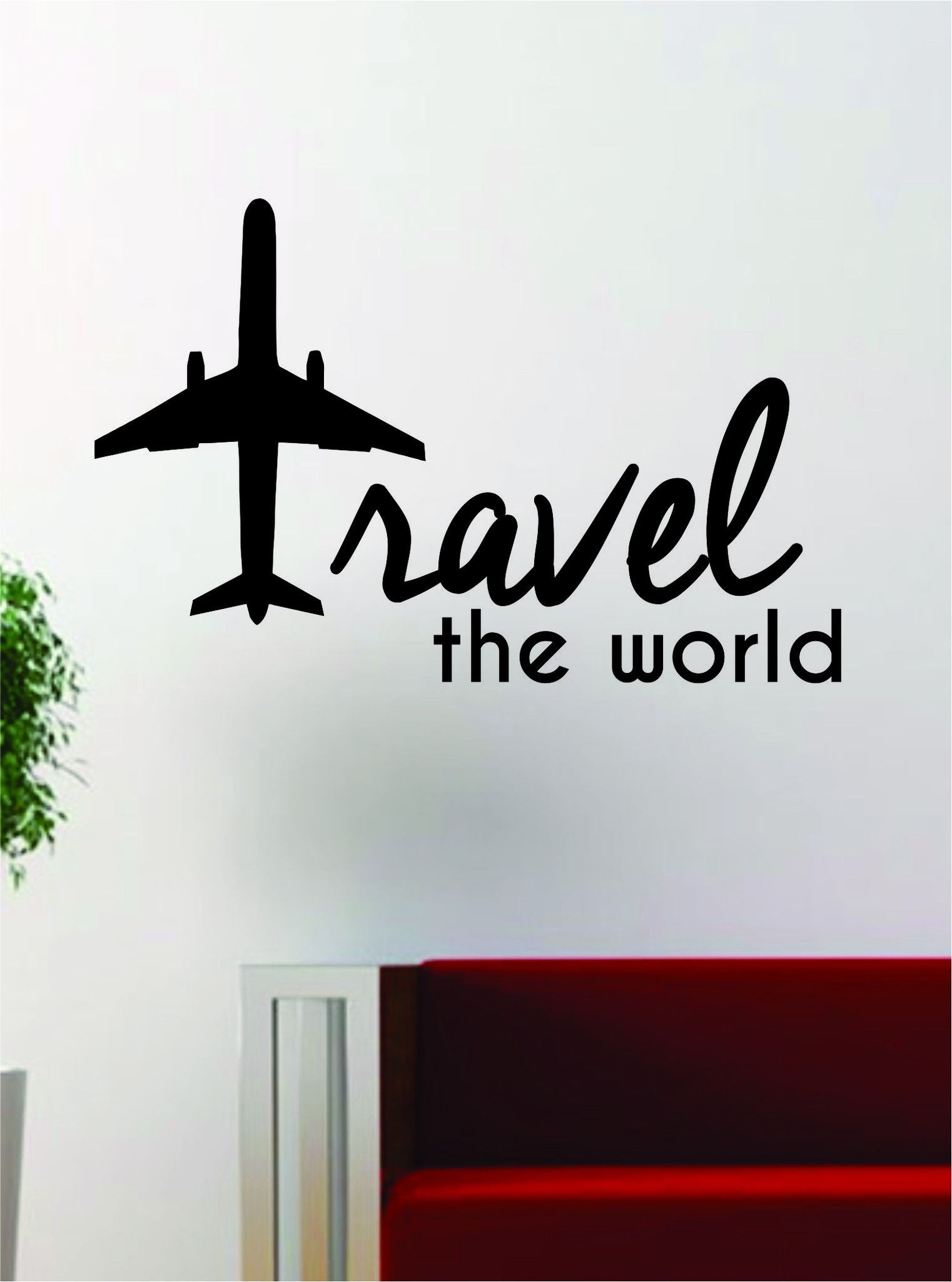 Travel the world airplane quote decal sticker wall vinyl decor art travel the world airplane quote decal sticker wall vinyl decor art adventure amipublicfo Image collections