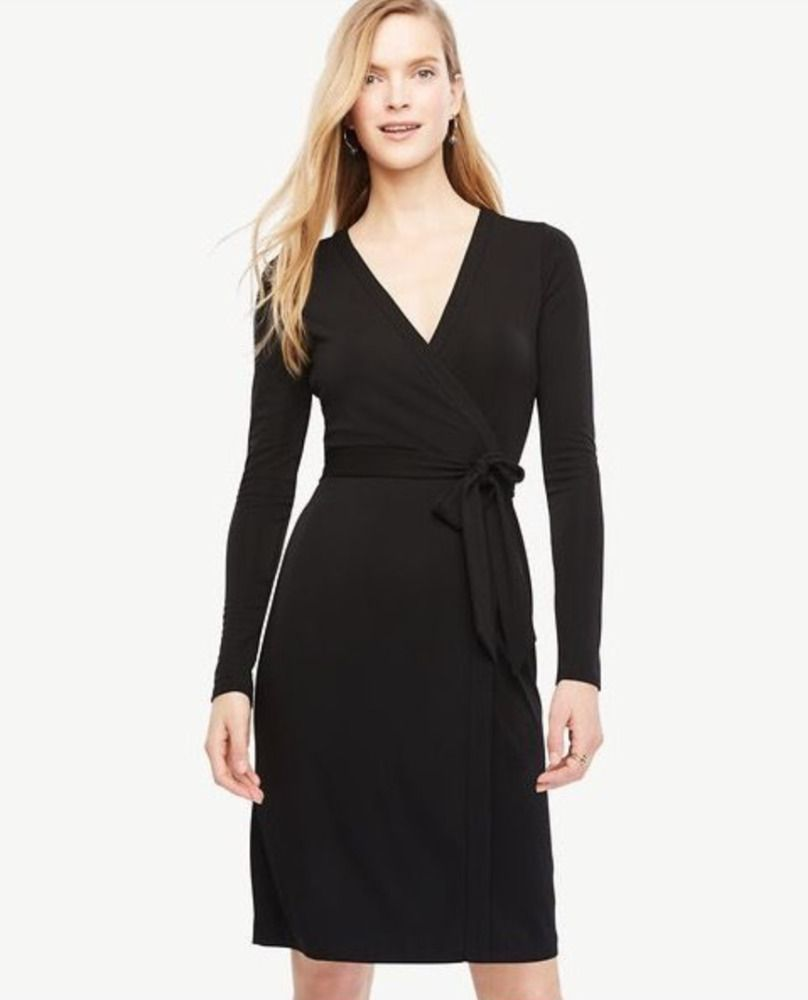 998d9ac35049 ANN TAYLOR WOMEN'S BLACK LONG SLEEVE ALWAYS ON WRAP JERSEY DRESS Sz 14  #fashion #clothing #shoes #accessories #womensclothing #dresses (ebay link)