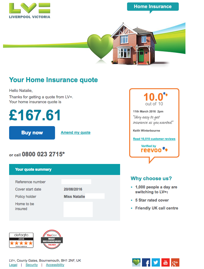 Reevoo Reviews Being Used In An Online Home Insurance Quote By Lv Home Insurance Quotes Insurance Quotes Home Insurance